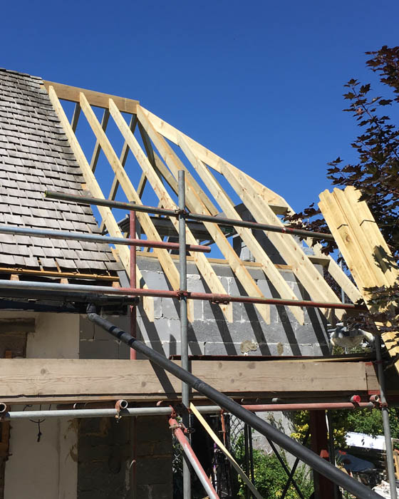 Photo of Harwoods Carpentry and Building Salisbury Wiltshire roofing with scaffolding